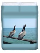 Pelicans On The Pier Duvet Cover