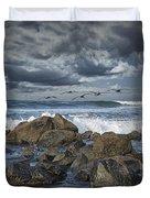 Pelicans Over The Surf On Coronado Duvet Cover