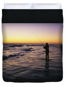 People Are Surf Fishing For Red Drum Duvet Cover