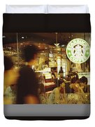People At One Of The First Starbucks Duvet Cover
