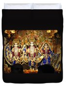 People Offering Prayers At The Iskcon Temple In Delhi Duvet Cover