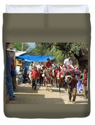 People On Horseback And On Foot Making The Climb To The Vaishno Devi Shrine In India Duvet Cover
