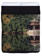 People Resting Under Pagoda On Hoan Duvet Cover