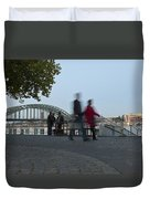 People Walk Along The Rhine River Duvet Cover