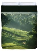 People Walking Through Lujeri Tea Duvet Cover