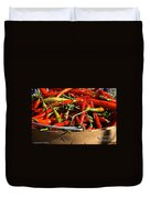 Peppers And More Peppers Duvet Cover by Susan Herber