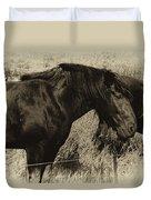 Percheron Prairie Horses Duvet Cover