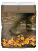 Person In Motion Walks Through Puddle Duvet Cover