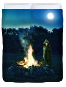 Person Standing By A Bonfire In The Moonlight Duvet Cover