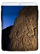 Petroglyphs Are Seen At Twilight Duvet Cover