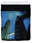 Petronas, Twin Towers At Night, Low Duvet Cover