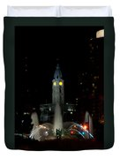 Philadelphia City Hall And Swann Fountain At Night Duvet Cover