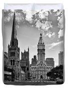 Philadelphia City Hall Bw Duvet Cover