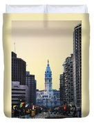 Philadelphia Cityhall At Dawn Duvet Cover by Bill Cannon
