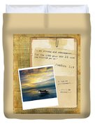 Photo Of Boat On The Sea With Bible Verse Duvet Cover