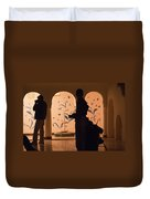 Photographers In Silhouette At A Heritage Building In Rajasthan In India Duvet Cover