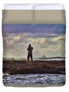 Photographing Seaside Life Duvet Cover by Douglas Barnard