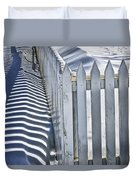 Picket Fence In Winter Duvet Cover