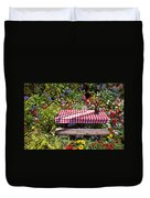 Picnic Table Among The Flowers Duvet Cover