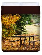 Picnic Table With Autumn Leaves Duvet Cover by Elena Elisseeva