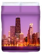 Picture Of Chicago Skyline By Night Duvet Cover