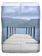 Pier And Snow-capped Mountain Duvet Cover
