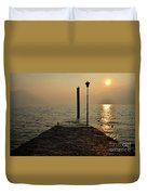 Pier And Sunset Duvet Cover
