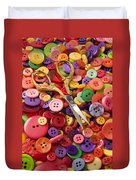 Pile Of Buttons With Scissors  Duvet Cover by Garry Gay