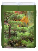 Pine And Autumn Colors In A Japanese Garden II Duvet Cover