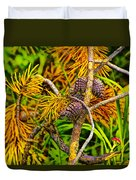 Pine Cones And Needles On A Branch Duvet Cover