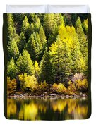 Pine Reflection At Georgetown Lake Colorado Duvet Cover
