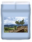 Pine Tree And Mountains Duvet Cover