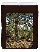 Pine Tree And Rocks Duvet Cover