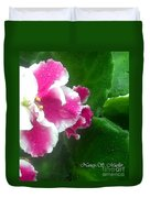 Pink African Violets And Leaves Duvet Cover