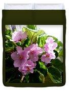 Pink African Violets Duvet Cover