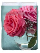 Pink And Aqua Roses Duvet Cover