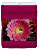 Pink And Orange Cactus Flower Duvet Cover