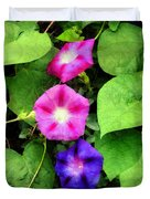 Pink And Purple Morning Glories Duvet Cover