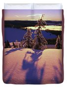 Pink And Purple Sunrise Shadows Of Snow Duvet Cover
