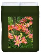 Pink And Yellow Daylilies Duvet Cover