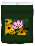 Pink Cosmos Picotee And Bee Duvet Cover