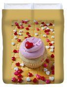 Pink Cupcake With Candy Hearts Duvet Cover
