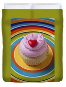 Pink Cupcake With Red Heart Duvet Cover
