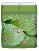 Pink Flower Petals Resting On Dew Duvet Cover