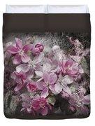 Pink Flowering Crabapple And Grunge Duvet Cover