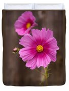 Pink Flowers And Wood  Duvet Cover