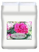 Pink Geranium Greeting Card Birthday Duvet Cover