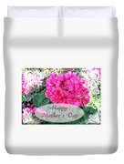 Pink Geranium Greeting Card Mothers Day Duvet Cover