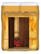Pink Geraniums Brown Shutters And Yellow Window In Italy Duvet Cover