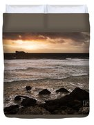 Pink Granite Coast At Sunset Duvet Cover